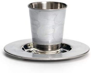 Amazon Com Modern Stainless Steel Kiddush Cup And Plate With Enamel Silver Kitchen Dining