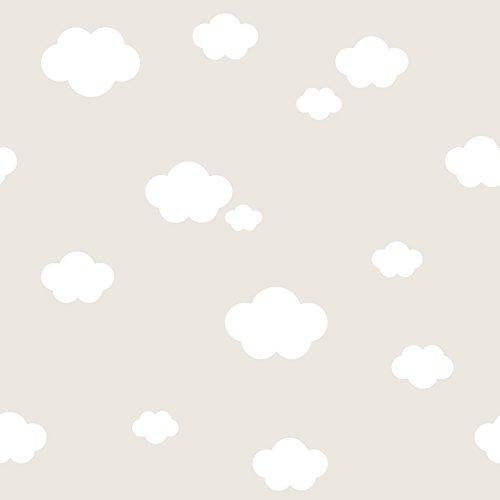 Rasch Textil Papiertapete Tapete - Kollektion Bimbaloo 2- 330266 Wolken Weiß Beige