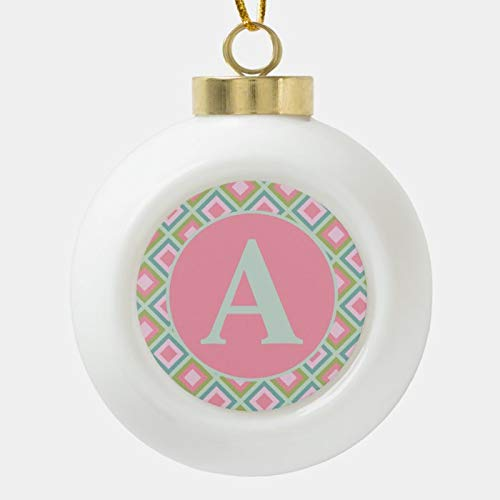SLobyy Christmas Ball Ornaments, Cute Pastel Pink Blue Green Monogram Christmas Ceramic Ball Christmas Ornament, Shatterproof Christmas Decorations Tree Balls for Holiday Wedding Party Decoration