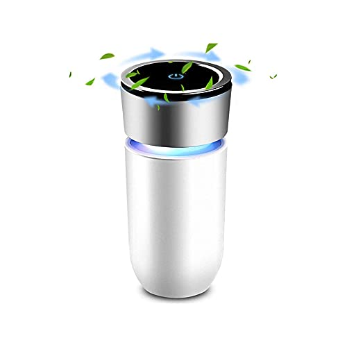 IVEOPPE Car Air Purifier with LED Light, Portable USB Car Ionizer Air Filter for Automotive, HEPA Filter for Allergies and Pet Hair Smoke, 3 Filtration System Cleaners, Odour Eliminator (White)