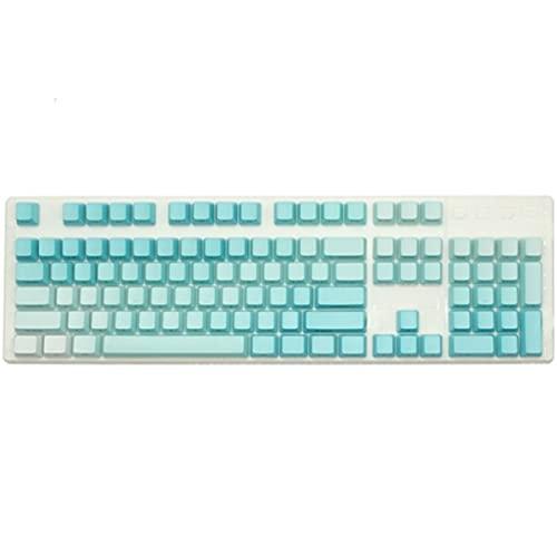 Conjunto de Llaves 104pcs PBT Dip TINKING KEYCAPS para EL Interruptor DE Juego MECÁNICO Teclado de la Altura de la Altura del gradiente Color Teclado keycaps (Color : L Blue Side Engraved)