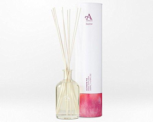 Arran Sense of Scotland HOM034 Ultimate Fig Reed Diffuser Glass Bottle 200ml in Tin, Verre, Blanc, 17 x 24 x 17 cm