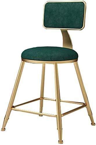 Wjf barkruk keuken barkruk groen velvet bekleed met goud, ijzer, poten en voetsteunen voor Bistro Pub ontbijt barkruk eetkamer hoog