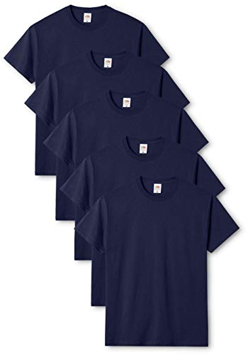 Fruit of the Loom Original T., T-Shirt Uomo, Blu (Navy 32), Large(Pacco da 5)