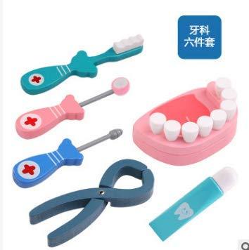 TrifyCore Kit mdico Juego de rol de Papel de Dentistas de Madera Juego de imaginacin Juego de Instrumentos dentales de Emulational Juguete para nios 6 Piezas / Juego