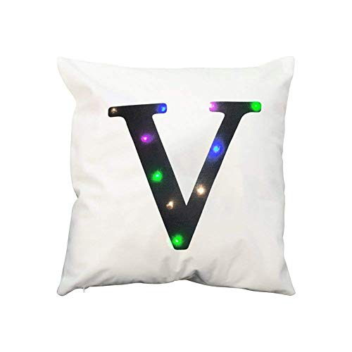 Zuodu, funda para cojín, almohada, con letra, de terciopelo, con creativa luz LED, colorida, intermitente, para uso en fiestas, Festival, bar, 45cm x 45cm, 1 pieza