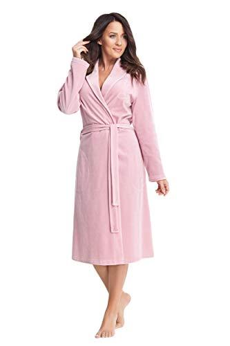 DOROTA kuscheliger und moderner Damen Bademantel mit Taschen & Bindeband / Kapuze, verschiedene Modelle, made in EU (M, puderrosa)