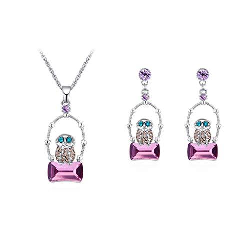 Set uil halsketting vintage oorbellen sieraden kristal verguld sieraden Europese en Amerikaanse mode Paars