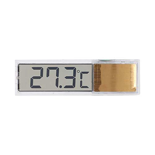 ViaGasaFamido Termómetro de Acuario, Sensor LED para Acuario, Sensor de Temperatura Interior y Exterior, pecera, termómetro de medición electrónico Digital 3D(Dorado)