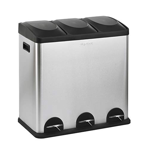 The Step N' Sort 16-Gal. 3-Compartment Stainless Steel Trash and Recycling Bin