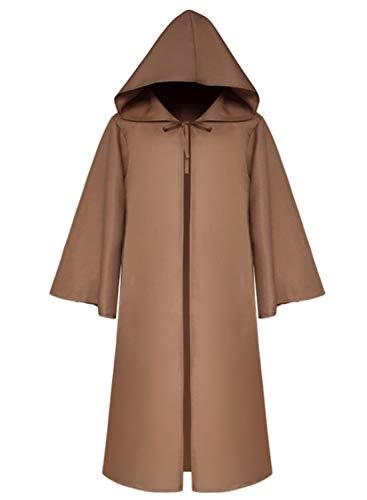 LATH.PIN Capa con capucha para hombre, estilo medieval, gtico, capa larga, disfraz de Halloween, unisex, cosplay, bruja vampiro (caf, S)