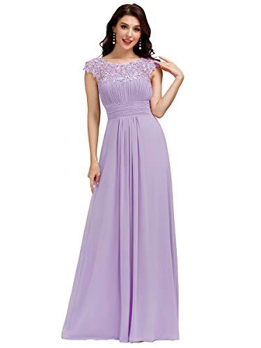 Ever-Pretty Vestiti da Sera e Cerimonia Donna Linea ad A Elegante Stile Impero Chiffon Abiti da Damigella d'Onore Lavender 36
