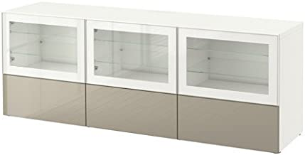 Ikea TV bench with doors and drawers, white, Selsviken high gloss/beige clear glass 38382.26178.1810