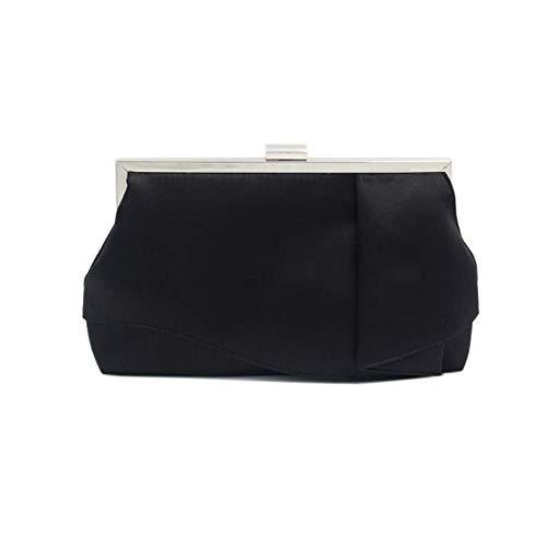Unbekannt Abendtasche/Handtasche, Temperament Dame Abendkleid Handtasche Bankett Party Kleid Abendessen Clutch Bag weibliche Hand fangen klein - weiß schwarz (Color : Schwarz)
