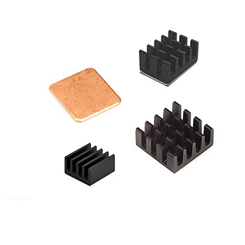Easycargo Raspberry Pi Kühlkörper-Set Aluminium + Kupfer + 3 M 8810 Kühler Wärmeleitkleber Klebeband für Raspberry Pi 4 B, 3B+ (4pcs)