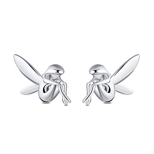 Fairy Winged Angel Sterling Silver Stud Earrings By Ginger Lyne For Girls Kids Fashion Jewelry Gift For Daughter Best Friend Whimsical Fairies
