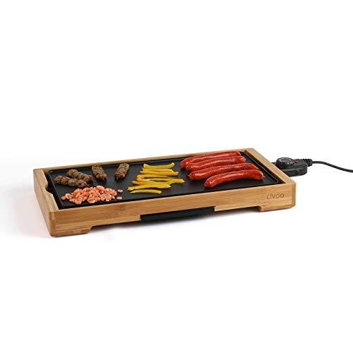 Barbecue électrique avec plaque de cuisson en aluminium, cadre en bois, 2200 W (grande surface de cuisson 50 cm, thermostat, barbecue de table électrique).