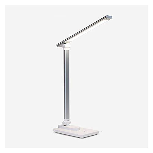 lámpara de mesita de noche Carga y enchufe de lámpara de doble propósito Lámpara de escritorio LED con 3 niveles de atenuación, lámpara de lectura de control táctil con puerto de carga USB, luz blanca