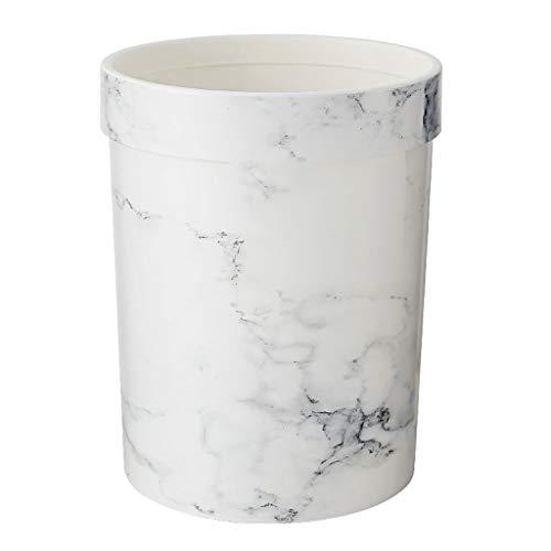 Bote de basura Bote de basura de estilo nórdico, plástico redondo con anillo de presión Bote de basura 7L / 8L, cubo de almacenamiento de mármol de imitación para el hogar - Negro / Blanco Bote de bas
