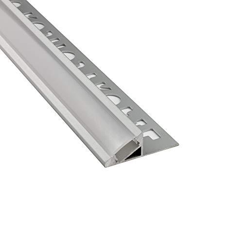 LED Aluprofil T77 12mm silber 30° Fliesenprofil + Abdeckung Abschlussleiste Bordüre Fliesen für LED-Streifen-Strip 2m opal