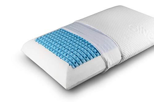 Hugs for Dreams - Almohada de espuma viscoelástica transpirable y masaje, funda de algodón + plata, fabricada en Italia