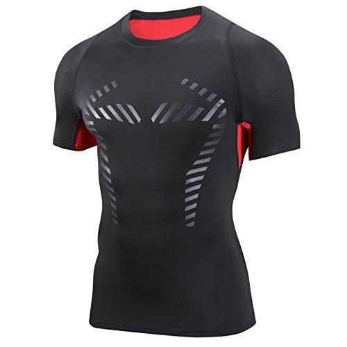 AMZSPORT Camisa de Compresión para Hombre Camiseta de Manga Corta Fitness Shirt, Rojo S