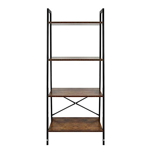 Wefun 4 Ebenen Leiter Regal,Bücherregale,Standregal für Wohnzimmer, Schlafzimmer, Küche 53 x 34 x 138 cm