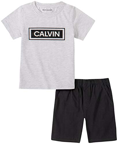 Calvin Klein Boys' 2 Pieces Shorts Set, Black/Grey, 3T