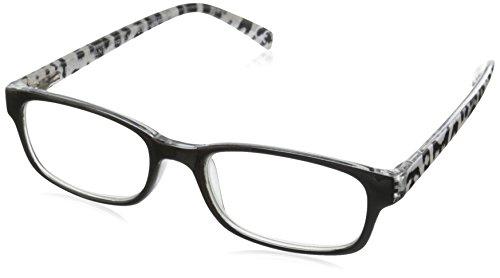 Foster Grant Women's Adalia Round Reading Glasses, Black/Transparent, 59 mm + 2.75