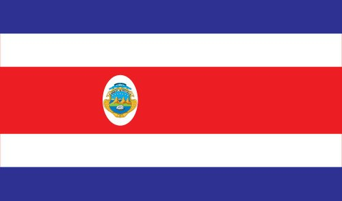 Annin Flagmakers Model 191835 Costa Rica Flag 3x5 ft. Nylon SolarGuard Nyl-Glo 100% Made in USA to Official United Nations Design Specifications.
