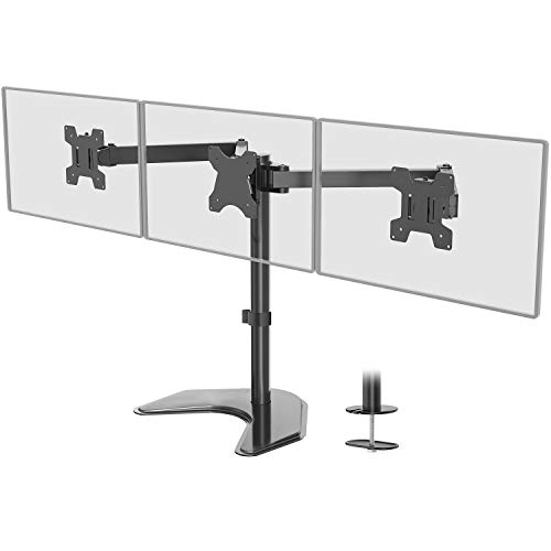 WALI Free Standing Triple LCD Monitor Fully Adjustable Desk Mount Fits 3 Screens up to 24...