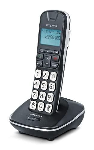 Emporia GD61 - Teléfono (Teléfono DECT, Terminal inalámbrico, Altavoz, 30 entradas, Negro)