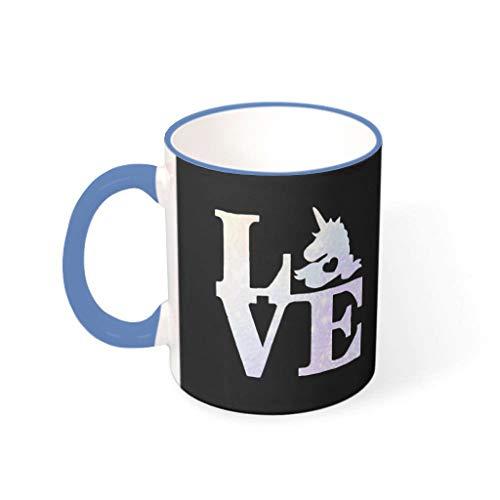 FFanClassic Taza de café Unicornio de cerámica lisa retro moderna – Tazas para mascotas de acero azul 330 ml