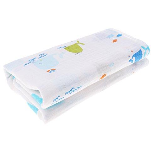 Baby Swaddle Puckdecke Spuckdecke Spucktücher Mullwindel Stilltuch Babytuch Badetuch Handtuch für Jungen Mädchen - Kleiner Wal