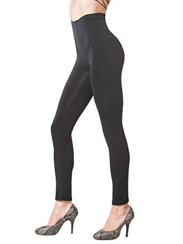 KHAYA Women's Seamless High Waist Slim Compression Full Length Legging Black