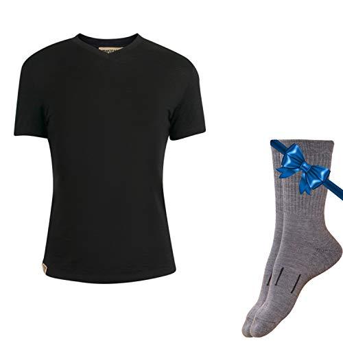 Merino.tech 100% NZ Organic Merino Wool Lightweight Women's Base Layer Thermal Short Sleeve T-Shirt + Merino Wool Hiking Socks Bundle | Moisture Wicking | No Odor | UPF 25 (Medium, Black)