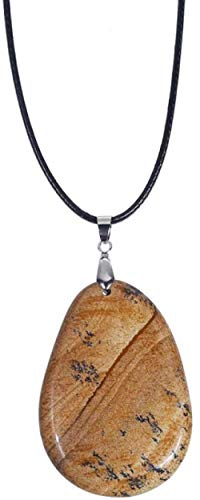 NC188 Collares Pendientes de Piedra para Mujer Collares Pendientes Marrones con Forma de Gota de Piedra Natural Irregular con Cadena de Cuero Adornos navideños Regalo para Mujeres Hombres