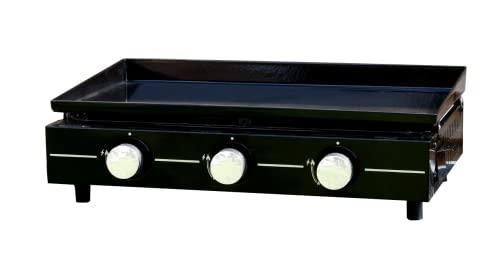 Plancha Gaz 3 Brûleurs en Acier Émaillé - Noir - Puissance 6 kWh - Surface de Cuisson : 2006 cm² - Garden Max
