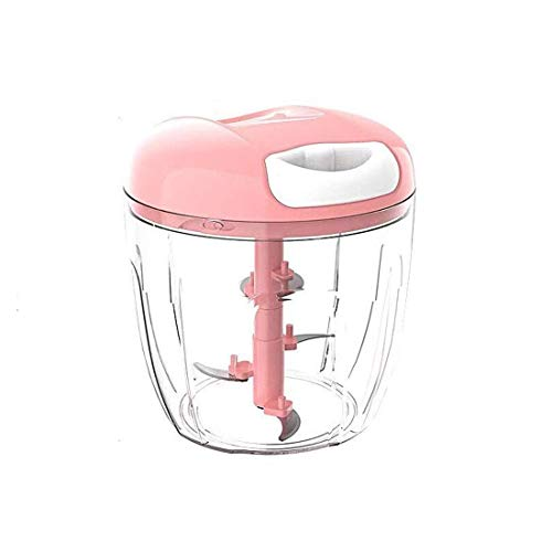 FEE-ZC handmatige groentesnijder, levensmiddelveilige hakmolen, 5 messen voor groente-handmatige processor mengsnijder antislip basis (980 ml) multifunctioneel, roze