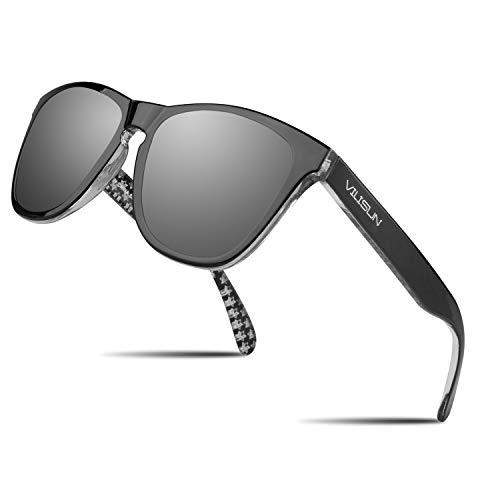 V VILISUN Polarisierte Sportbrille Sonnenbrille Fahrradbrille mit UV400 Schutz für Herren und Damen Autofahren Laufen Radfahren Angeln Ski Fahren Golf Radsport Premium Reisebrille