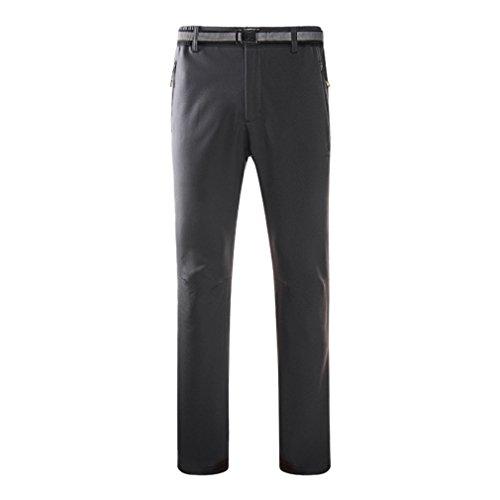 emansmoer Homme Pantalon Softshell Doublé Polaire Élastique Résistant à l'eau Outdoor Sport Pantalon Randonnée Camping (Medium, Gris)