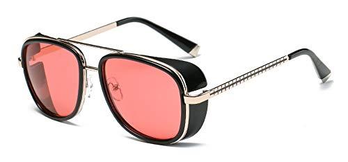 FUZHISI Gafas de Sol Metal Hombres Mujeres Gafas de Sol Revestimiento Gafas de Sol UV400, Rosa