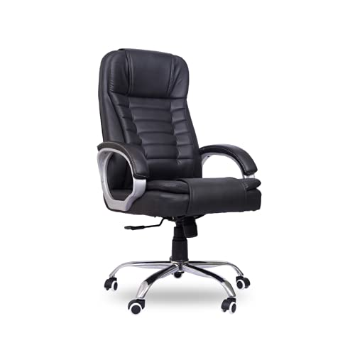 beAAtho JS-32 Teak and Upholstery High Back Executive Revolving Office Chair (Black)