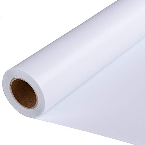 Brwell Heat Transfer Vinyl Roll 12 Inches x 12 Feet White Iron On Heat Transfer Vinyl for T Shirts and Fabrics, HTV Vinyl Heat Transfer Compatible with Cricut and Silhouette Cameo (White)