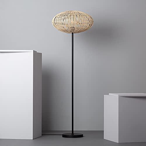 LEDKIA LIGHTING Lampadaire Bambu Atamach 1510x500x500 mm Naturel E27 Bambou pour Décoration Salon, Chambre, Cuisine