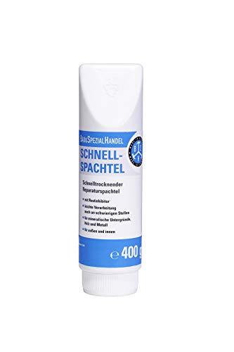 BSH® Schnellspachtel für innen und außen - Reparaturspachtel Weiß 400 g - Fertigspachtel mit Rostinhibitor - Made in Germany (27,25 €/ Kg)