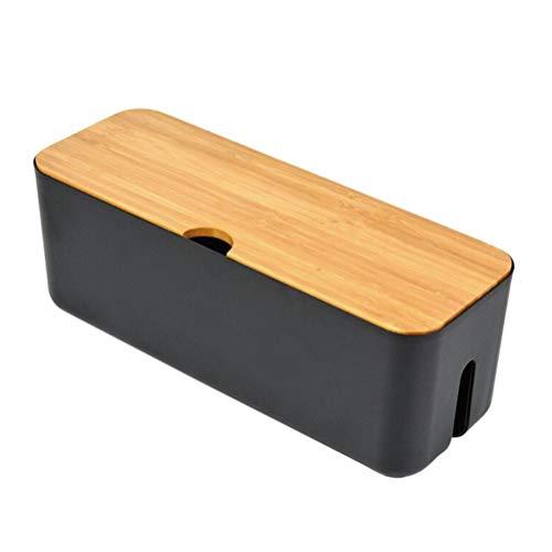 Topbathy - Organizador de cables con tapa de madera, color negro, negro