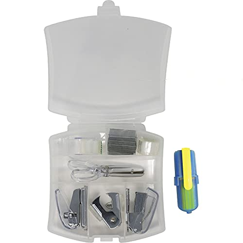 Portable Mini Travel Stationery Office Kit 8 in 1 Set (Clear)