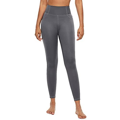 Lixada Pantalones de Yoga para Mujer Secado Rápido Cintura Alta con Bolsillo Trasero Leggings para Correr Fitness Entrenamiento Físico