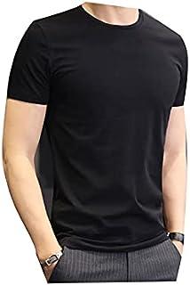 Fbnzmluqdx Tshirt for Men Brand New Cotton Men's T-shirt Short-sleeve Man T shirt Short Sleeve Pure Color Men t shirt T-sh...